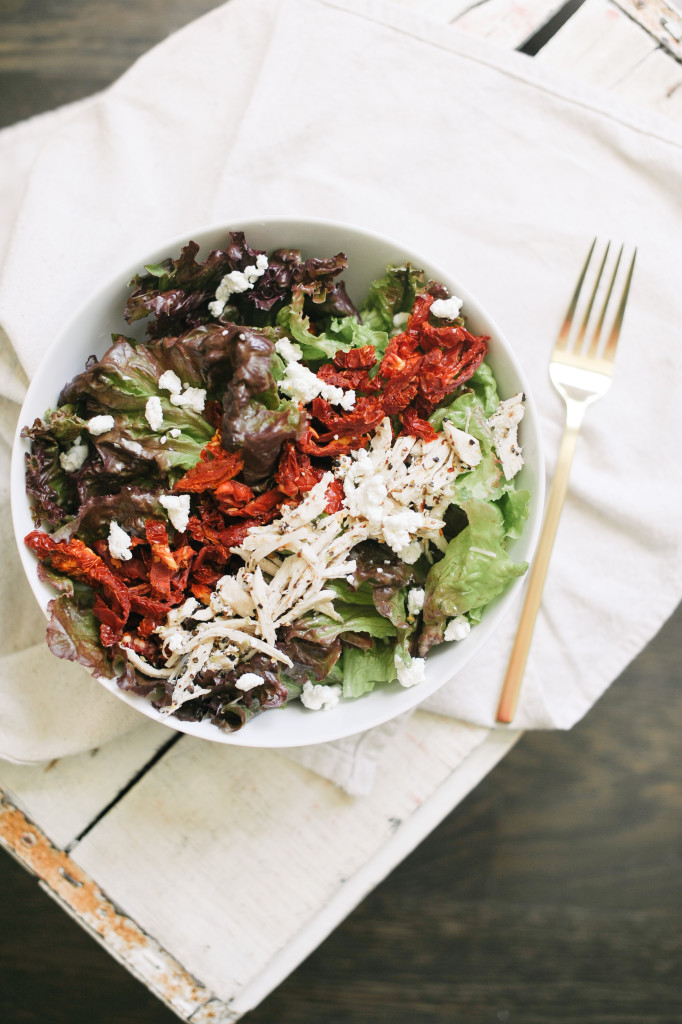 Sundried Tomato + Pulled Chicken Salad via simplyrealhealth.com  and The Simply Real Health Cookbook