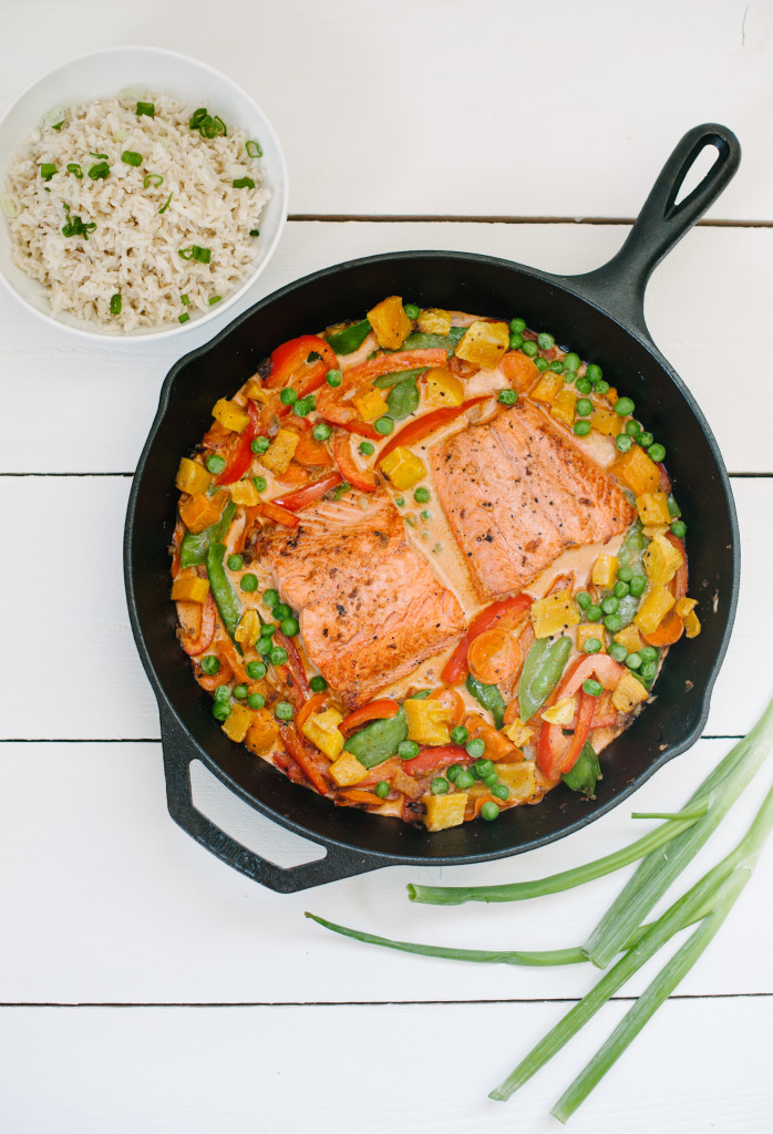 Butternut Squash, Salmon + Vegetable Curry via simplyrealhealth.com