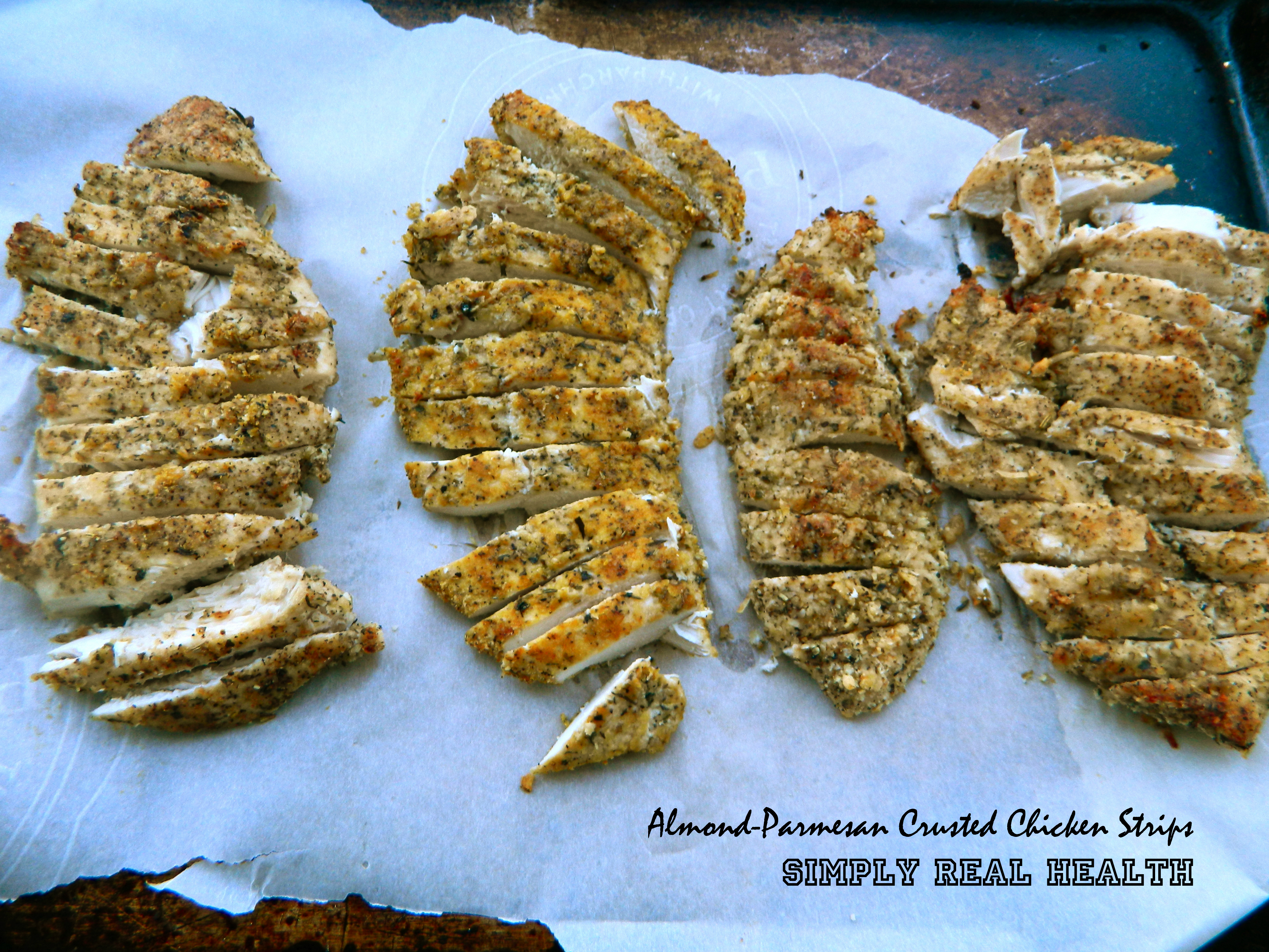Almond Parmesan Crusted Chicken Strips [Gluten Free] [Dairy Free]   Simply  Real Health