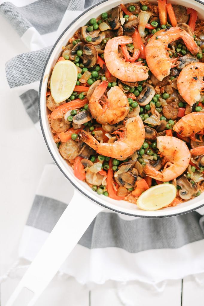 Organic Sausage, Shrimp + Quinoa Paella via simplyrealhealth.com