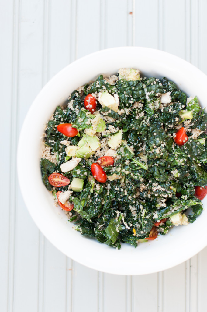 Shredded Chicken, Kale + Avocado Salad via from The Simply Real Health Cookbook (on presale now)
