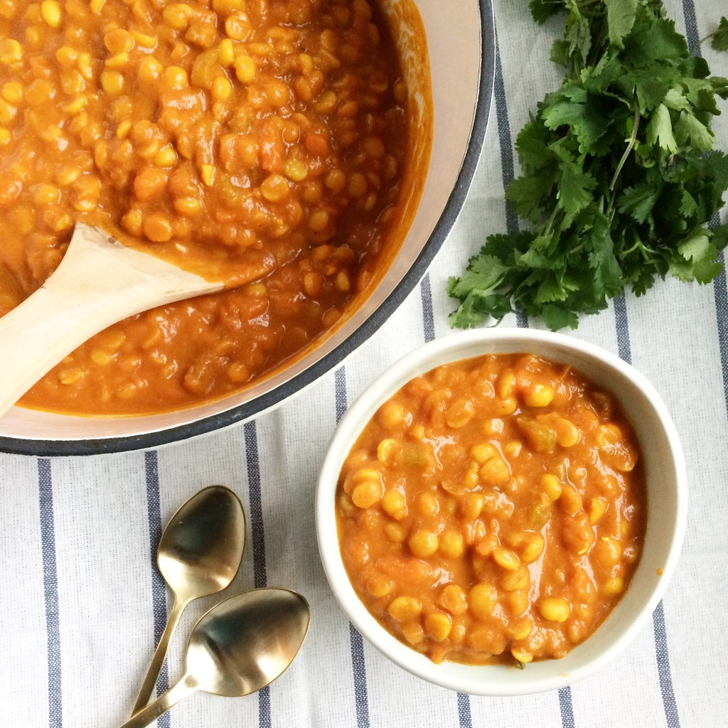 Goodbye takeout! Hello, Indian Yellow Split Pea Curry via www.simplyrealhealth.com