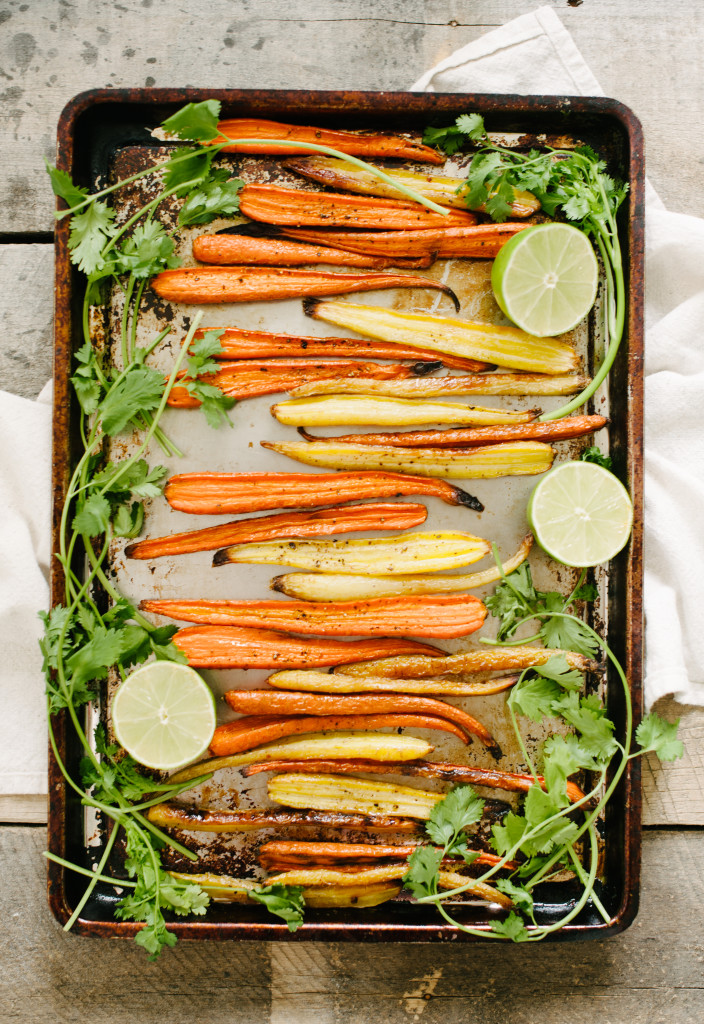 Roasted Carrots with Honey, Cilantro + Lime from The Simply Real Health Cookbook, on sale now! This is the perfect way to love your veggies! Try it with parsnips too. www.simplyrealhealth.com