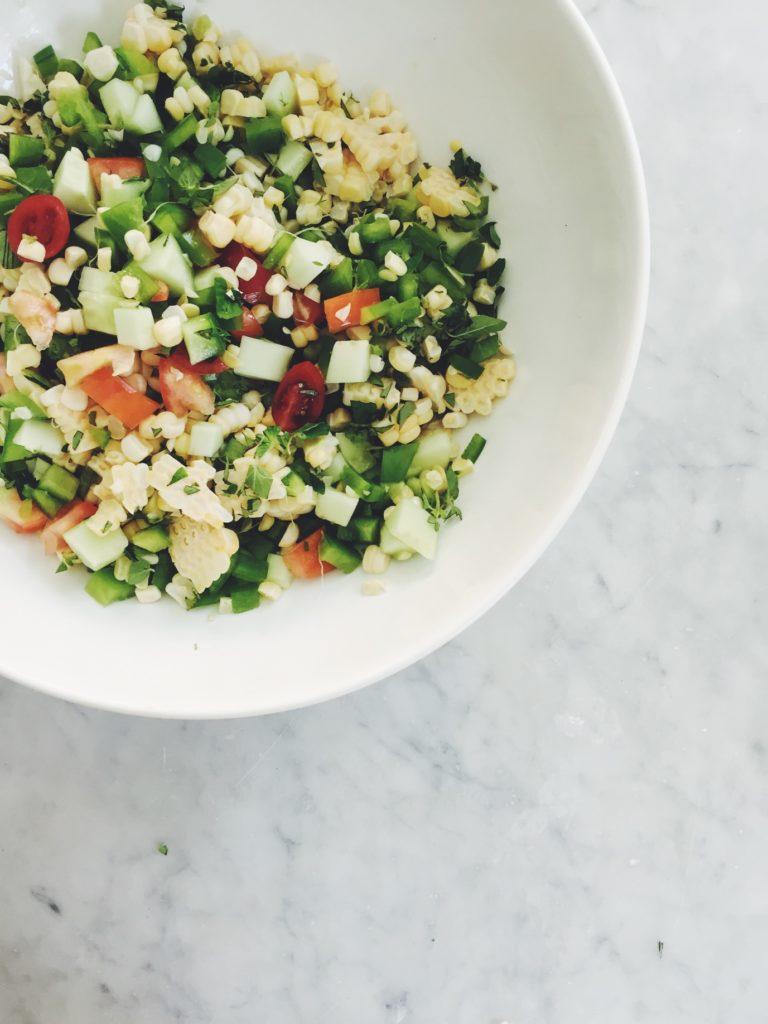 Easy Poblano Corn Picnic Salad via @simplyrealhealth